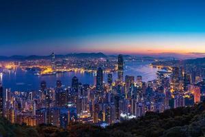 Panorama view before sunrise on Hong Kong Peak, Hong Kong