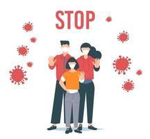detener el coronavirus. Ilustración de vector de brote de coronavirus. familia con mascarilla.