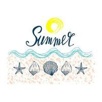 Seashells, summer, holidays, set of seashells and starfish, vector. Hand drawn sea shells and starfishes. Beautiful inscription in modern calligraphy. vector