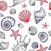 Seamless pattern with seashells and starfishes. Marine background.  Hand drawn vector illustration in sketch style. Perfect for greetings, invitations, coloring books, textile, wedding and web design.