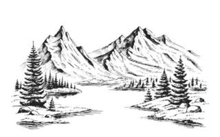 Hand drawn vector nature illustration with mountains and forest on first view. Using for travel and nature background and card
