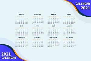 Diseño de calendario abstracto para la plantilla de diseño de calendario 2021. la semana comienza el domingo. diseño de calendario de una sola página 2021 vector