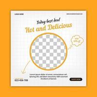 Plantilla de banner de comida creativa para publicación en redes sociales. promoción de banner web. vector de publicidad online