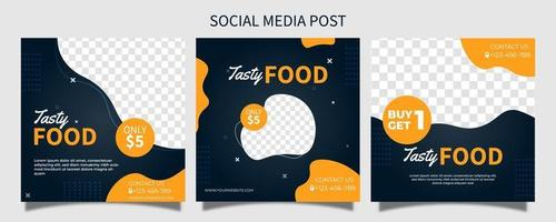 Creative vector premium tasty food social media post template. online promotion banner. advertising web vector