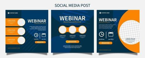 Set webinar social media post template concept design. online marketing promotion banner design vector i