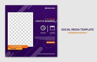 Plantilla de publicación de redes sociales de seminario web en vivo moderno creativo. promoción de marketing online. vector de diseño de concepto de negocio de banner web