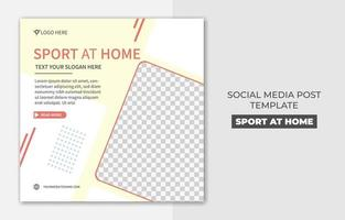 Square sport at home banner for social media post template design, good for your online promotion vector