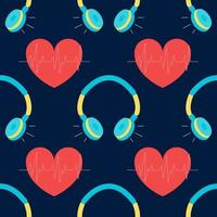 Vector seamless pattern with headphones and heart, background music