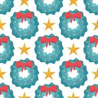 Seamless pattern of Christmas wreaths with red bow and stars on white background, vector flat style