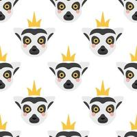 la cara de un lémur con una corona en la cabeza. patrón transparente de vector sobre un fondo blanco. lindo y divertido lémur, decoración de la habitación de los niños