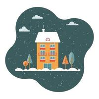 vector ilustración plana con casa naranja y árboles sobre fondo oscuro, noche nevada. invierno