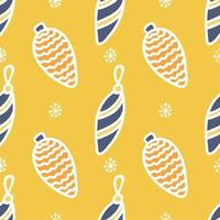 Seamless pattern of colored Christmas toys with a white outline on a yellow background with snowflakes, vector flat Christmas picture