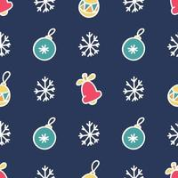 Seamless pattern of Christmas tree toys and snowflakes on a dark blue background, vector flat Christmas picture