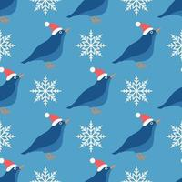 Seamless vector pattern of a Bird in a hat with snowflakes on blue, Christmas holiday background