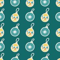 Seamless pattern of colored Christmas toys with white outline on green background, vector flat Christmas picture