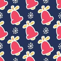 Seamless pattern of colored bells with a white outline on a blue background with snowflakes, vector flat Christmas picture