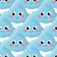 Vector seamless pattern with blue fun clouds, children's cute background