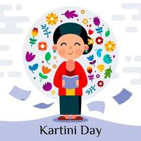 Kartini Day Celebration with Surrounded by Flowers vector