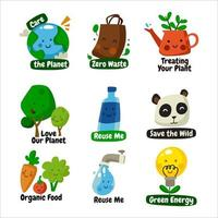 Earth's Day Awareness Sticker vector