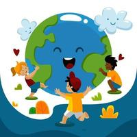Earth's Day Awareness with Kids vector