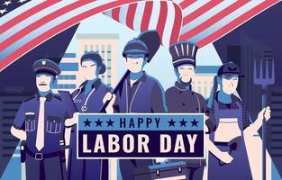 Happy Labor Day Dark Blue People Design vector