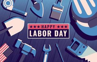 Happy Labor Day with Construction Tools vector