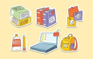 Back to School Sticker Concept vector