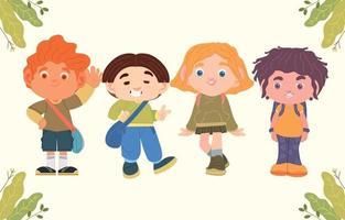 School Kids Cartoon Character vector