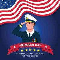 Officer Giving Salute During Memorial Day vector