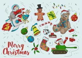 navidad, año nuevo, contorno, contorno, coloreado, iconos, conjunto vector
