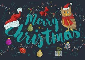 New year Christmas contour color illustration vector
