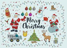 New year Christmas large color contour icon set vector
