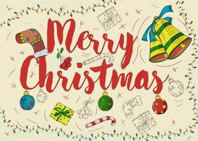 Christmas New year contour color design for lettering greeting vector