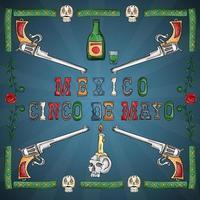 diseño de ilustración del tema mexicano de la celebración del cinco de mayo vector