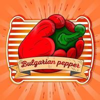 Label illustration of sweet bell pepper lying on its side vector