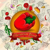 illustration of Mexican cooking products in a circular design vector
