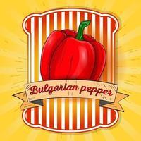 Label illustration of sweet bell pepper vector
