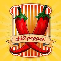 Label illustration of two hot chili peppers vector