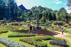 Mueang Chiang Rai, Thailand, 2021 - Tourist visiting a temple photo