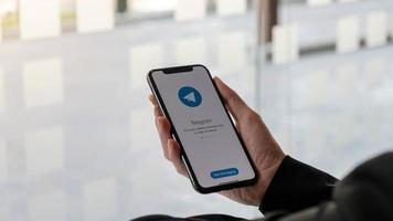 Chiang Mai, Thailand, Mar, 21, 2021 - Telegram app on a smartphone photo