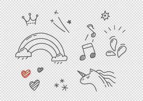 Vector hand drawn doodle style elements isolated. Vector elements for design