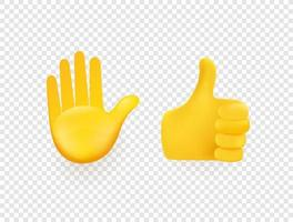 Yellow 3d vector hands isolated