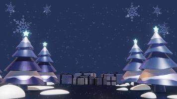 árvores de natal em um loop de animação de fundo azul