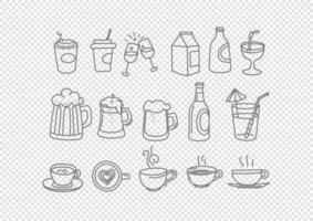 Vector hand drawn doodle style elements isolated. Beverages.
