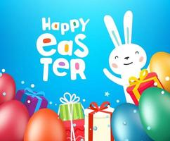 Happy Easter greeting card template with eggs and cute rabbit vector