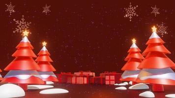 árvores de natal em um loop de animação de fundo vermelho