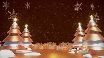 arbres de noël sur une boucle d & # 39; animation de fond or