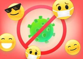 Beware of virus concept. 3d vector illustraction of virus and emoji