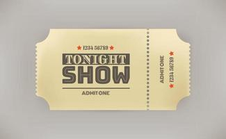 Tonight show. Retro style paper tonight show ticket with shadow vector