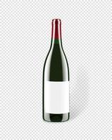 vino blanco en una botella de vidrio aislada. maqueta para el diseño vector